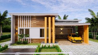 12x11 Small House Plan 3 Bedrooms 40x36 Feet Flat Roof front view