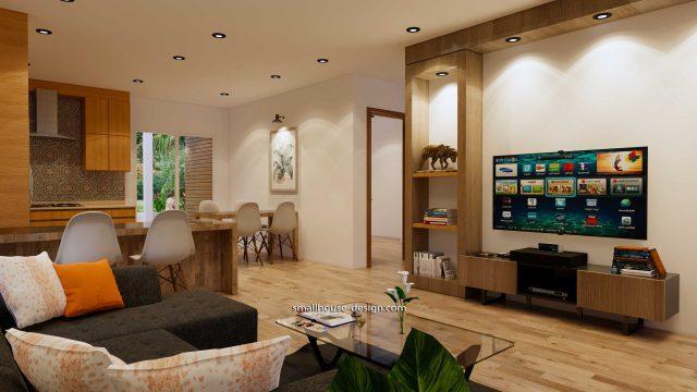 Interior Small House Plan 8x12 M 27x40 Feet 2 Beds PDF Full Plans living room 3
