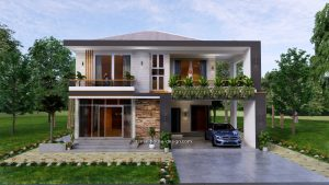 Small House Design 12x11 m with 4 Bedrooms 40x36 Feet Pdf Full Plan Front view 1