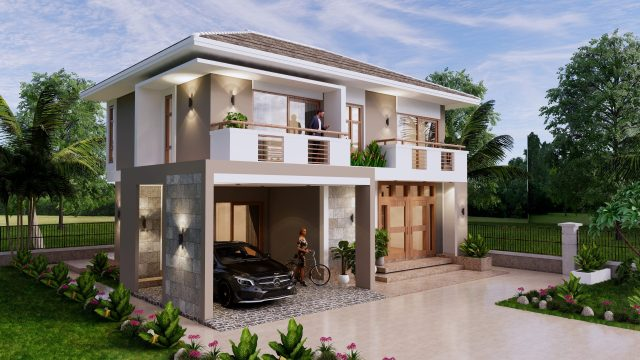 Small House Plan 11.5x9 M 38x29 Feet 3 Beds Full PDF Plan Front Left 3d