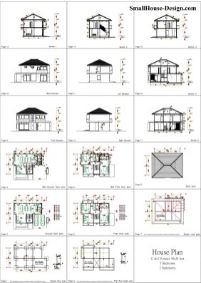 Small House Plan 11.8x7.5 meters 3 Beds 39x25 Feet Full PDF Plan All layout plan