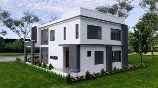 Small House Plan 11x15 M 36x49 Feet 5 Beds Full Plan Right Back 3d view