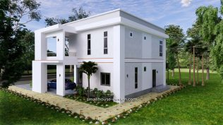 Small House Plan 12x11 m 40x36 Feet 4 Beds Pdf Full Plan Back right view