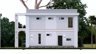Small House Plan 12x11 m 40x36 Feet 4 Beds Pdf Full Plan elevation back
