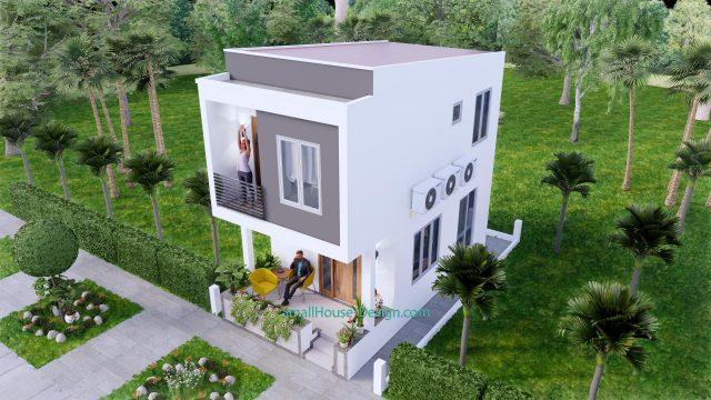 Small House Plan 4x7 M 13x23 Feet 2 Beds PDF Plan 3d front 4