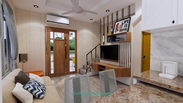 Small House Plan 4x7 M 13x23 Feet 2 Beds PDF Plan 3d living room