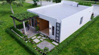 Small House Plan 8x12 M 27x40 Feet 2 Beds PDF Full Plans Back 3d 4