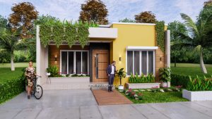 Small House Plan 8x12 M 27x40 Feet 2 Beds PDF Full Plans Front 3d 1