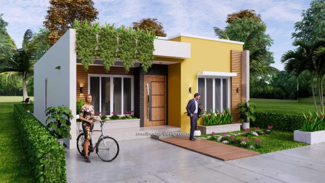 Small House Plan 8x12 M 27x40 Feet 2 Beds PDF Full Plans Front 3d 3