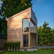 "This copper, glass and cedar ""garden pavilion"" serves as music studio, guest house and home office. The 350 sq ft structure includes a full bathroom and kitchenette. 