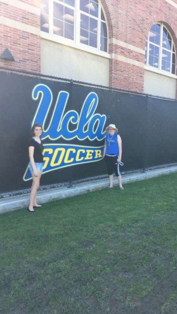 My sister and I had to take our picture with the UCLA Soccer logo.