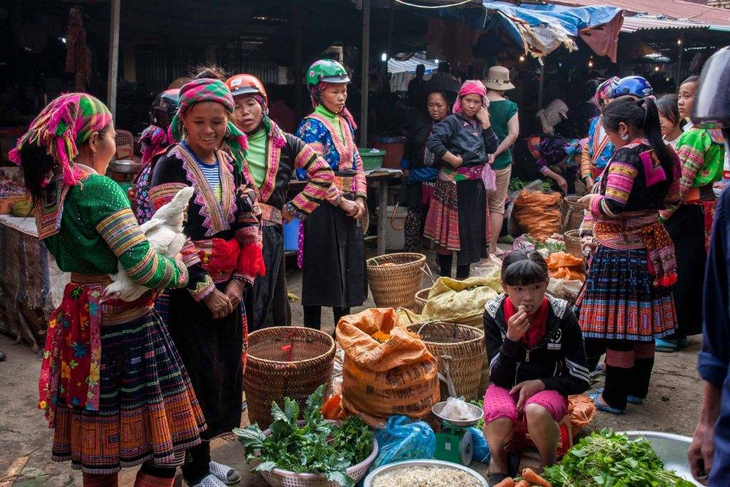mercato di Sin Ho nel Vietnam del nord