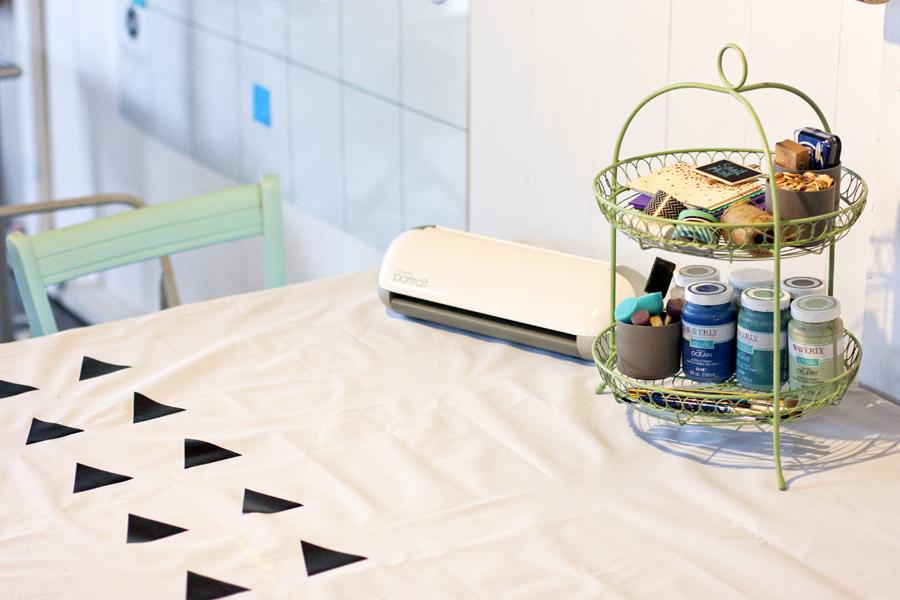 Genius idea for a craft room tablecloth!