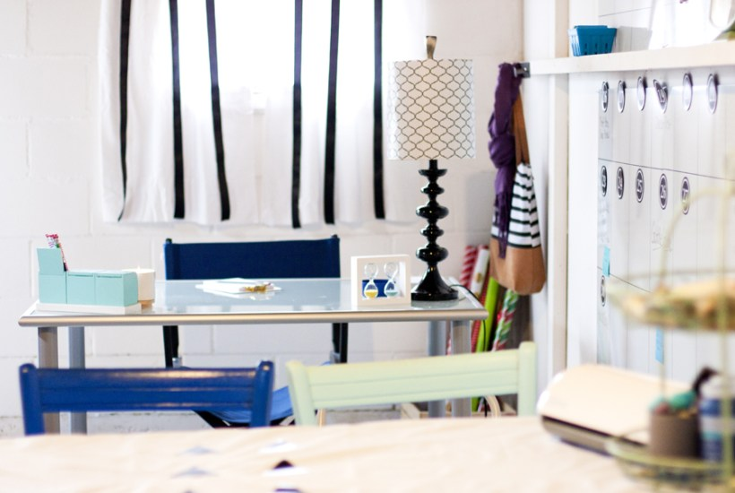 Great ideas for transforming an old basement into a pretty craft room and office