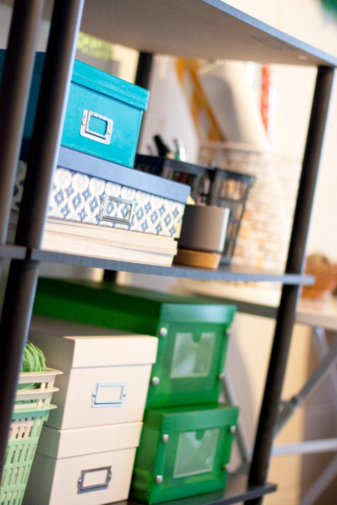 organized-craft-supplies-on-shelf