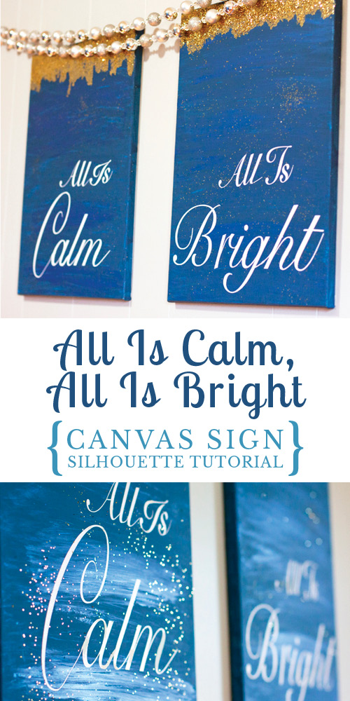 What pretty canvas art to hang up at Christmas time! Made with cheap canvas and lettering with her Silhouette