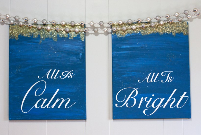 What pretty canvas art to hang up at Christmas time! Made with cheap canvas and her Silhouette (tutorial)