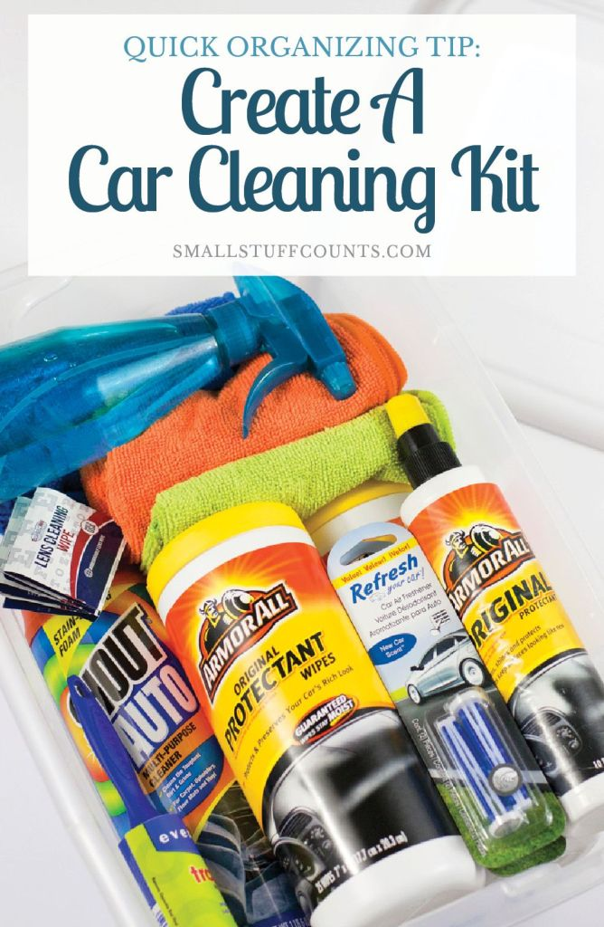 Love this quick organizing tip! My car would be so much cleaner if I had all of the car cleaning supplies organized into one handy kit. This has a good list of things to include in a car cleaning kit - all great ideas!