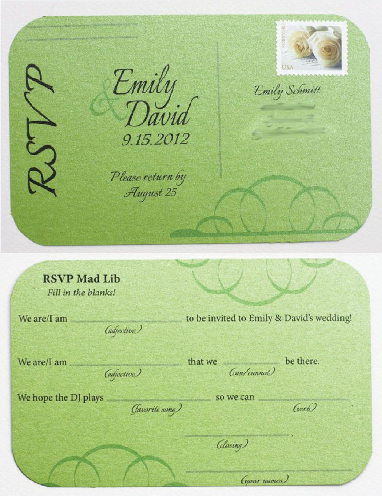 These Mad Lib Wedding Rsvps Would Be So Fun To Use In Our Invitations What