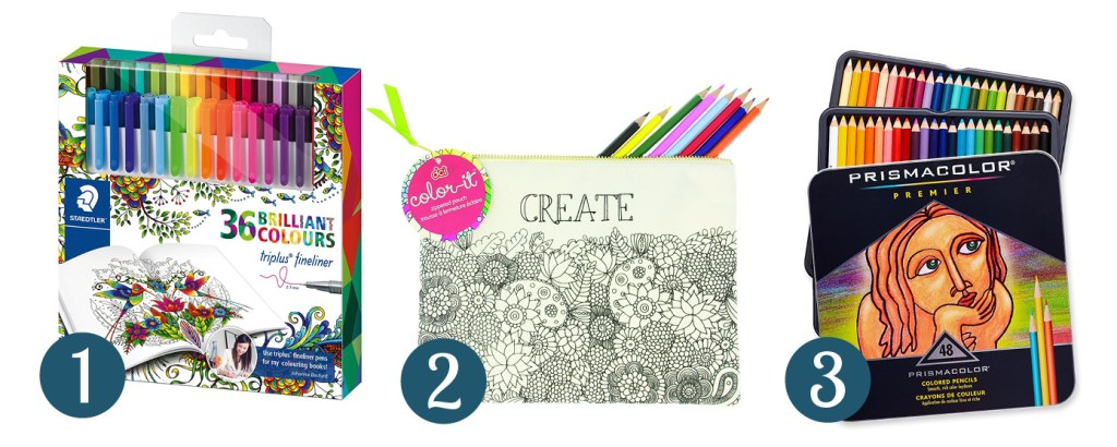 Collage of images showing 3 gift ideas for coloring book enthusiasts - markers and colored pencil sets