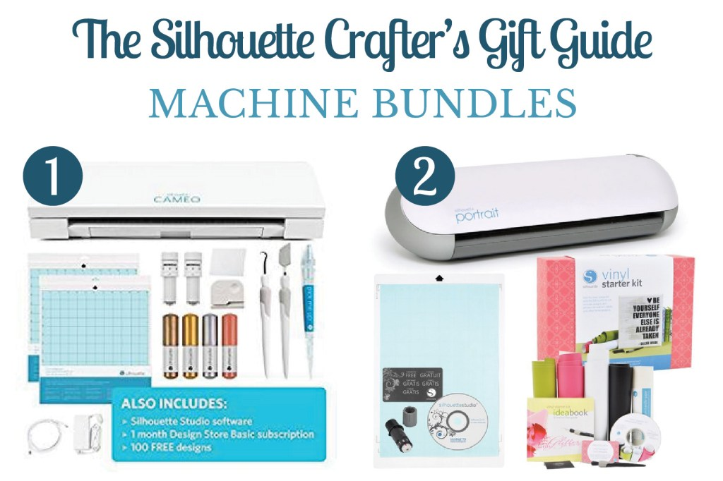 Collage of 2 images of Sillhouette crafters gift ideas including Cameo and Portrait machine bundles