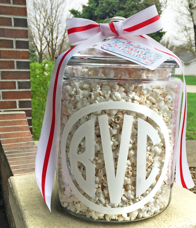 Image of DIY monogrammed treat jar wedding gift idea using Silhouette