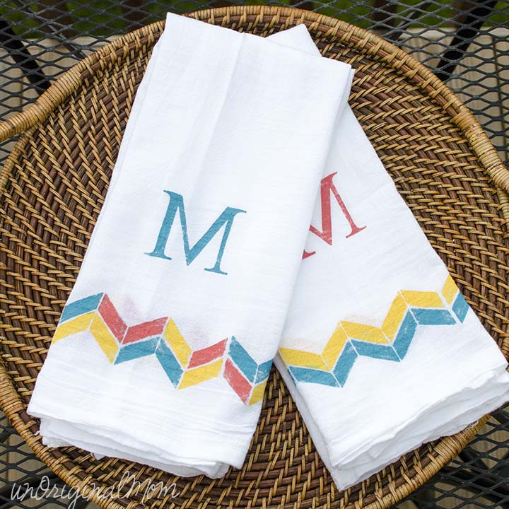 Image of DIY monogram stenciled tea towels made with Silhouette