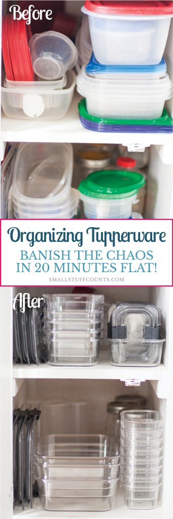 Have a messy tupperware drawer or cupboard? This girl completely organized her in just 20 minutes! Get her tips for organizing tupperware in this blog post and you'll be ready to organize your kitchen.
