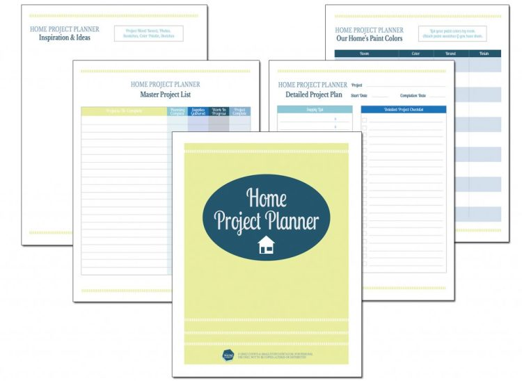 Ooh I totally need this home project planner to get organized! Love the project checklists, supply lists, paint color tracker, etc. Check out this free printable download.