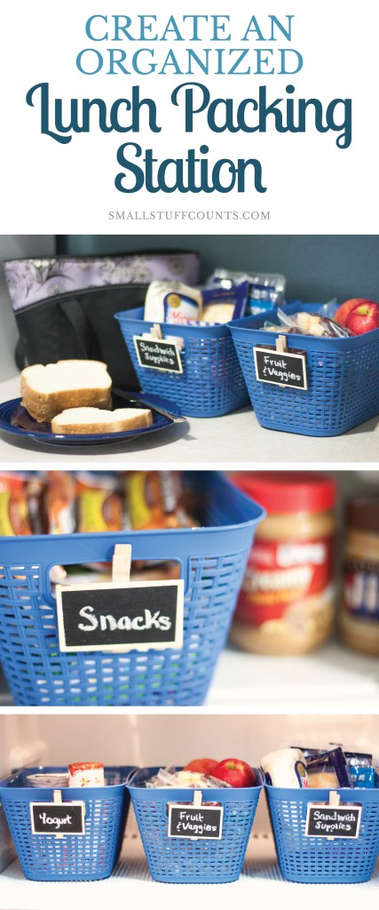 Always rushing out the door to school and work? Set up a simple lunch packing station to stay organized and save time in your morning routine.