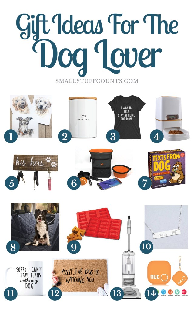 Collage of images showing 14 gift ideas for dog lovers