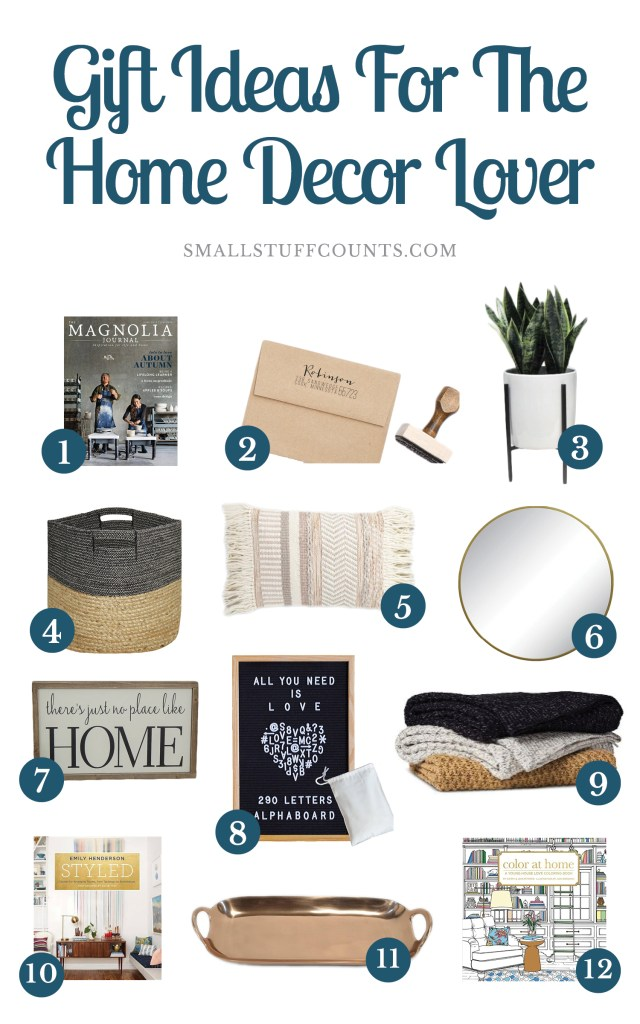 Collage of images showing 12 gift ideas for home decor lovers