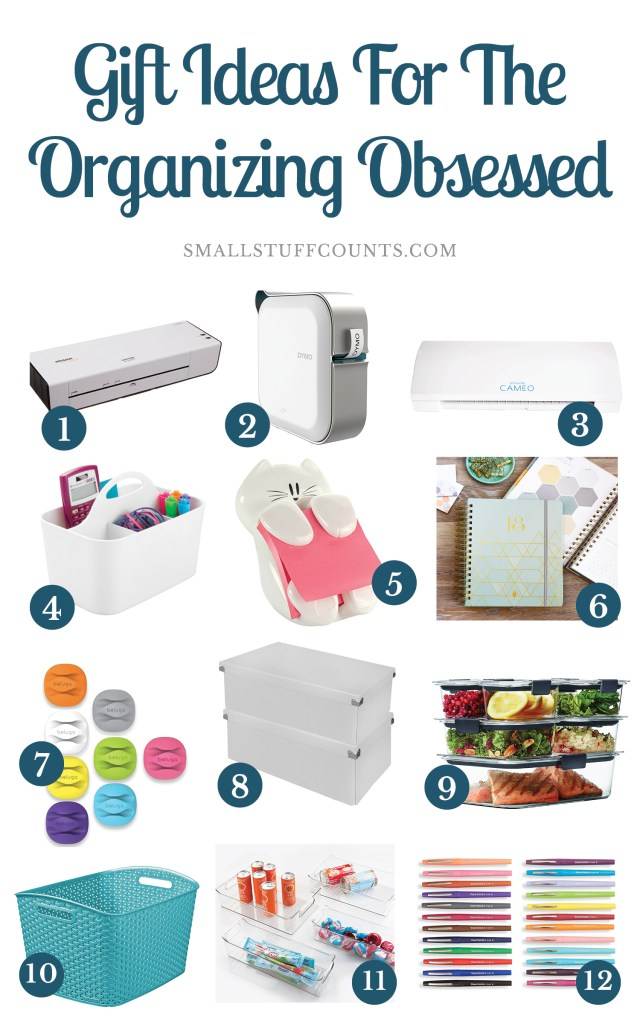 collage graphic with 12 gift ideas for people who like organizing