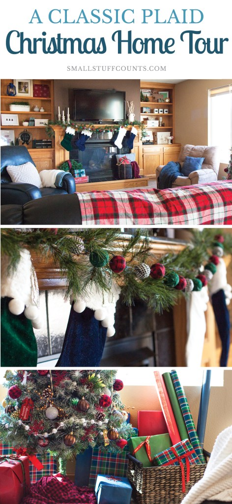 What a beautiful Christmas living room! Love the red plaid blanket and all of the Christmas decor on the built in shelves! Pretty Christmas mantel decor as well.
