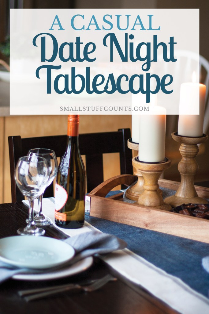 That blue table runner and wooden tray make a great casual tablescape. It's perfect for a date night at home! Love this table setting and those wooden candle holders are so pretty.