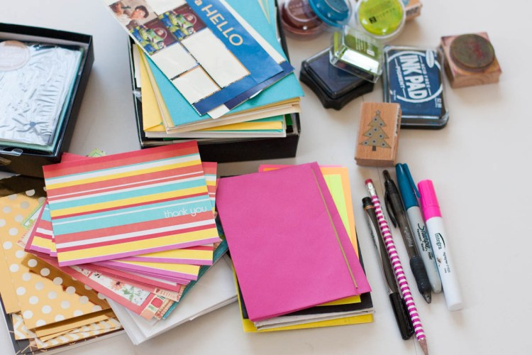 Wondering how to organize greeting cards? Try putting them in a shoe box!