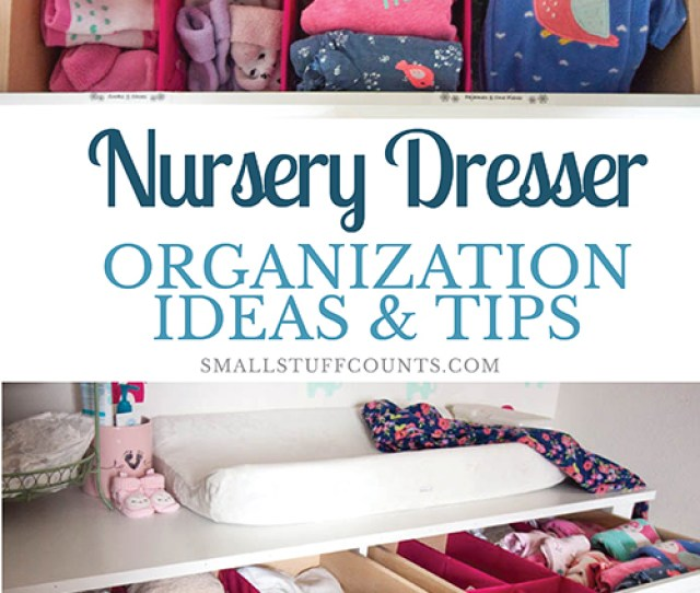 White Nursery Dresser With Organized Baby Clothes