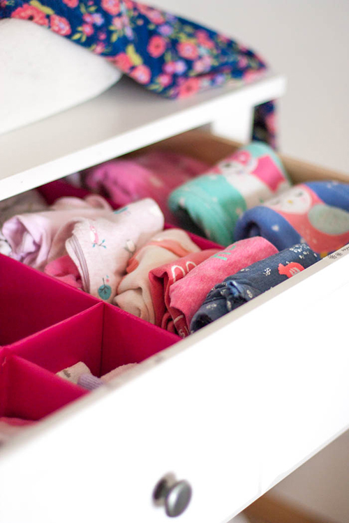 closeup of dresser drawer in a nursery