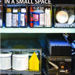 organized craft cabinet with text overlay that says: Organizing Craft Supplies In A Small Space