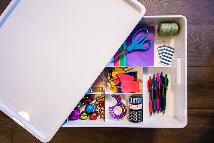 wrapping-paper-storage-bin-with-compartments-for-accessories
