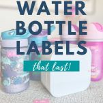 water bottles and label maker with text overlay