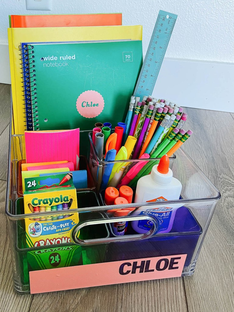 homework station filled with school supplies and notebooks