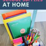 image of homework supplies with text overlay
