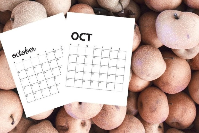 image of apples and october calendars