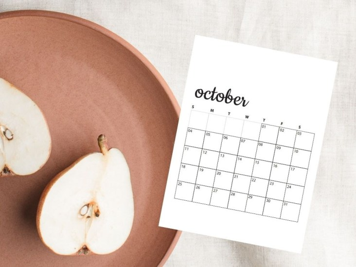 image of apples with october calendar