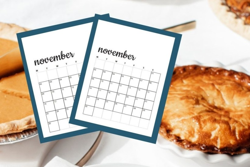 image of pies with november calendars
