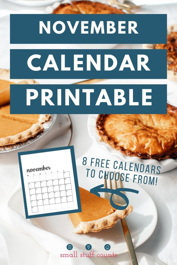 image of pies and text overlay with November calendar