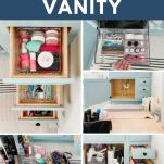 collage of bathroom vanity organization process photos