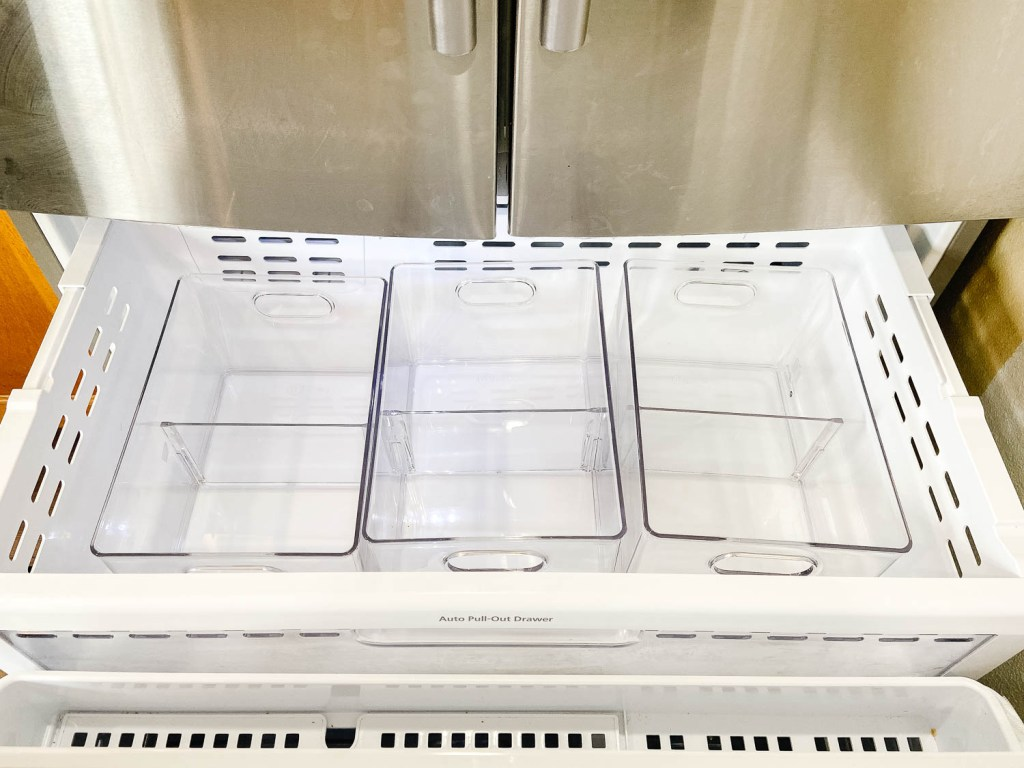 clear bins in a drawer freezer