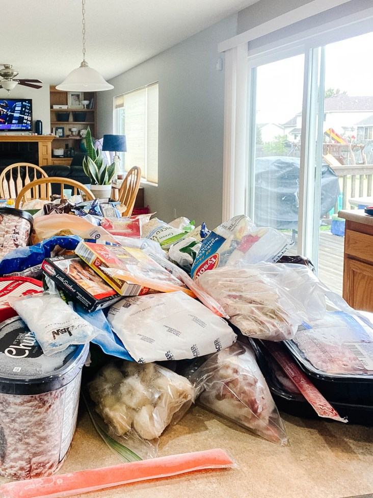frozen food scattered in a kitchen